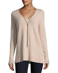 Neiman Marcus - Cashmere V-neck Pullover W/ Chain Necklace - Lyst