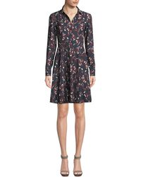 Kate Spade - Foxes Smocked Long-sleeve Shirt Dress - Lyst