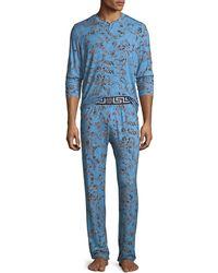 Versace - Barocco Medusa Paisley Pajama Set - Lyst