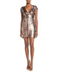 Dress the Population - Zoe Brushstroke Sequin V-neck Mini Dress - Lyst