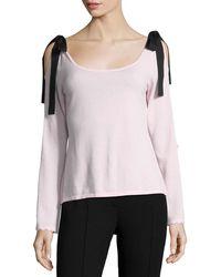 Nanette Lepore - Beau Scoop-neck Velvet Bow Sweater - Lyst
