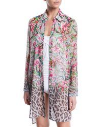 Carmen Marc Valvo - Ombre Floral/leopard Sheer Button-down Coverup Shirt - Lyst