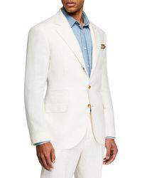 Brunello Cucinelli - Men's Chevron Panama Two-piece Linen Suit - Lyst