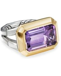 David Yurman Novella 16mm Stone Ring W/ 18k Gold & Amethyst/citrine, Size 9 - Purple