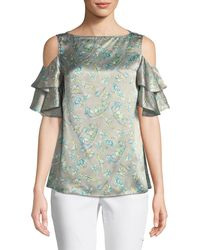 Lafayette 148 New York - Layla Lily-print Cold-shoulder Silk Top - Lyst