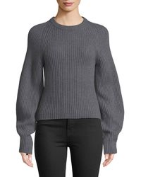 Theory - Huron Sculpted-sleeve Crewneck Merino Wool Sweater - Lyst