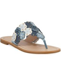 b96f98a27 Lyst - COACH Hudson Tea Rose Flat Thong Sandal in Natural