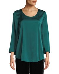 Eileen Fisher - 3/4-sleeve Silk Charmeuse Blouse - Lyst