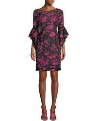 Aidan Mattox - Boat-neck 3/4 Trumpet Sleeve Floral-embroidered A-line Cocktail Dress - Lyst