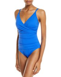 a973c4c420e Tommy Bahama Zebra Low Back Over The Shoulder Cup One-piece in Blue ...