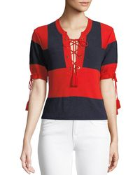 Carven - Retro Rugby Short-sleeve Sweater W/ Lace-up Front - Lyst