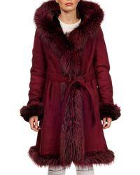 Gorski - Fox-fur Trim Lamb-shearling Wrap Coat - Lyst