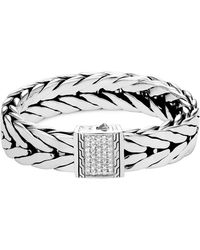 John Hardy | Men's Modern Chain Extra-large Sterling Silver Bracelet With Diamonds | Lyst