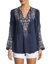 Johnny Was - Tanya Embroidered Georgette Blouse - Lyst