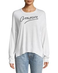 Sundry - Amour Embroidered Long-sleeve Top - Lyst