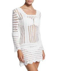 Letarte - Bandana Crocheted Cotton Mini Dress  - Lyst