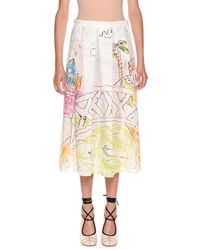 Marni - Magdalena Suarez Collaboration Printed Cotton Voile Pleated Ankle Skirt - Lyst