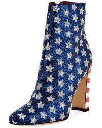 Manolo Blahnik - Nancy Sequined Stars & Stripes Flag Booties - Lyst