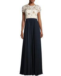 Jenny Packham - Beaded Lace-bodice Short-sleeve Gown - Lyst