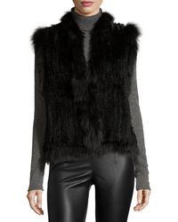 Belle Fare - Knitted Rabbit Fur Vest W/fox Fur Trim - Lyst