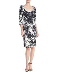 Naeem Khan - 3/4-sleeves Scoop-neck Matelassé Printed Dress - Lyst