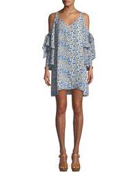 Parker - Aryanna V-neck Cold-shoulder Floral-print Silk Dress - Lyst