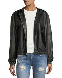 Public School | Kris Hooded Zip-front Leather Jacket | Lyst