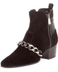 Balmain - Ella Calfskin Chain-trim Booties - Lyst