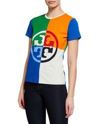 Tory Burch - Colorblock Logo-print Short-sleeve T-shirt - Lyst