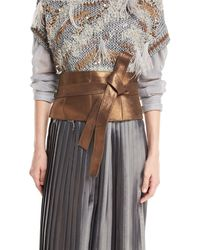 Brunello Cucinelli - Metallic Leather Corset Belt - Lyst