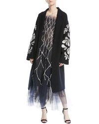 Oscar de la Renta - Thread-work Sequin Embroidered Double-breasted Wool Coat - Lyst