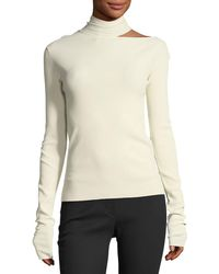 Helmut Lang - Tieback High-neck Long-sleeve Sweater - Lyst