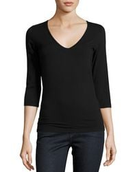Neiman Marcus | Soft Touch 3/4-sleeve V-neck Tee | Lyst