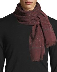 Isaia - Gruppo Dotted Cashmere-blend Scarf - Lyst