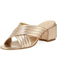 Sesto Meucci - Maggy Block-heel Metallic Leather Slide Sandal - Lyst