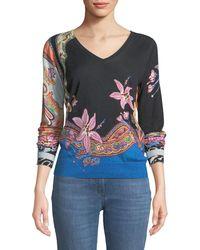 Etro - V-neck Lily-print Silk-cashmere Sweater - Lyst