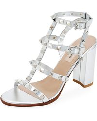 1052253bb51 Valentino - Rockstud Strappy Metallic Leather Block-heel Sandals - Lyst