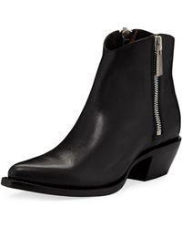 Frye - Sacha Leather Zip Shortie Boots - Lyst