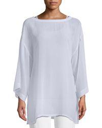 Eileen Fisher - Side-tie Sheer Silk Kimono Top - Lyst