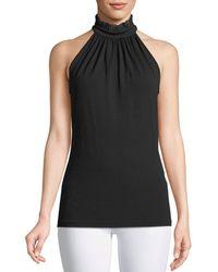 Michael Kors - Lace Halter-neck Stretch-matte Jersey Top - Lyst