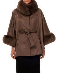 Gorski - Cashmere Belted Cape W/ Fur Collar & Cuffs - Lyst