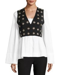 Elizabeth and James - Leola Embellished Cross-back Sleeveless Crop Top - Lyst