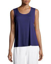 Eileen Fisher - Stretch Silk Jersey Scoop-neck Tank Top Plus Size - Lyst