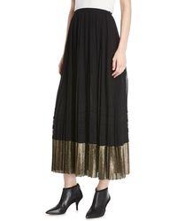 Derek Lam - A-line Pleated Plisse Long Skirt W/ Metallic Hem - Lyst