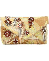 Dries Van Noten - Jeweled Metallic Envelope Clutch Bag - Lyst