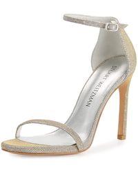 Stuart Weitzman - Nudistsong Shimmery Ankle-wrap Sandals - Lyst