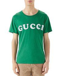 b4ffeba7ea5 Lyst - Gucci Logo Printed Cotton Mesh T-shirt in White for Men