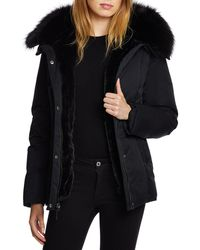 Dawn Levy - Luka Fitted Waterproof Parka Coat With Fox Fur Trim - Lyst