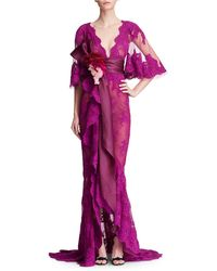 Marchesa - Lace Cape-sleeve Gown - Lyst