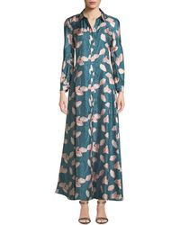 Lafayette 148 New York - Siya Long-sleeve Button-front Graphic Floral Silk Dress - Lyst
